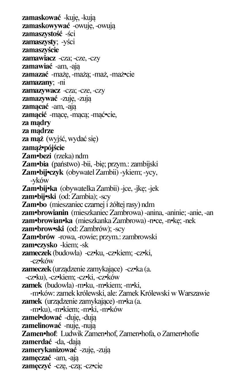 Fragment ze słownika