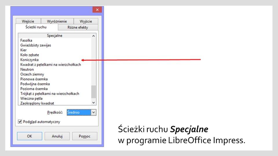 Slajd 3 galerii zrzutów okien zefektami ścieżek ruchu wprogramie LibreOffice Impress