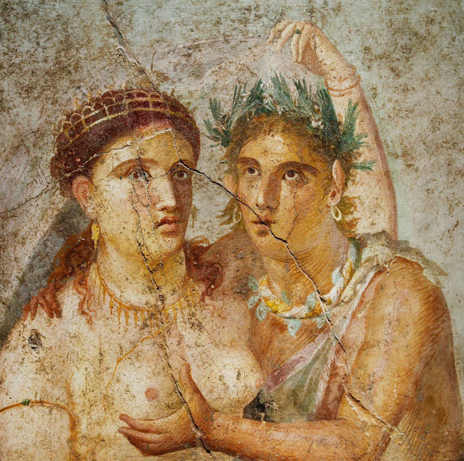 Jeden zpompejańskich fresków Jeden zpompejańskich fresków Źródło: Marie-Lan Nguyen, Naples National Archaeological Museum, domena publiczna.