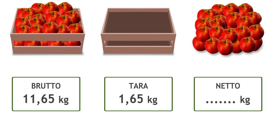 Rysunek skrzynki zjabłkami (brutto – 11,65 kg), pustej skrzynki (tara – 1,65 kg) isamych jabłek (netto - … kg).