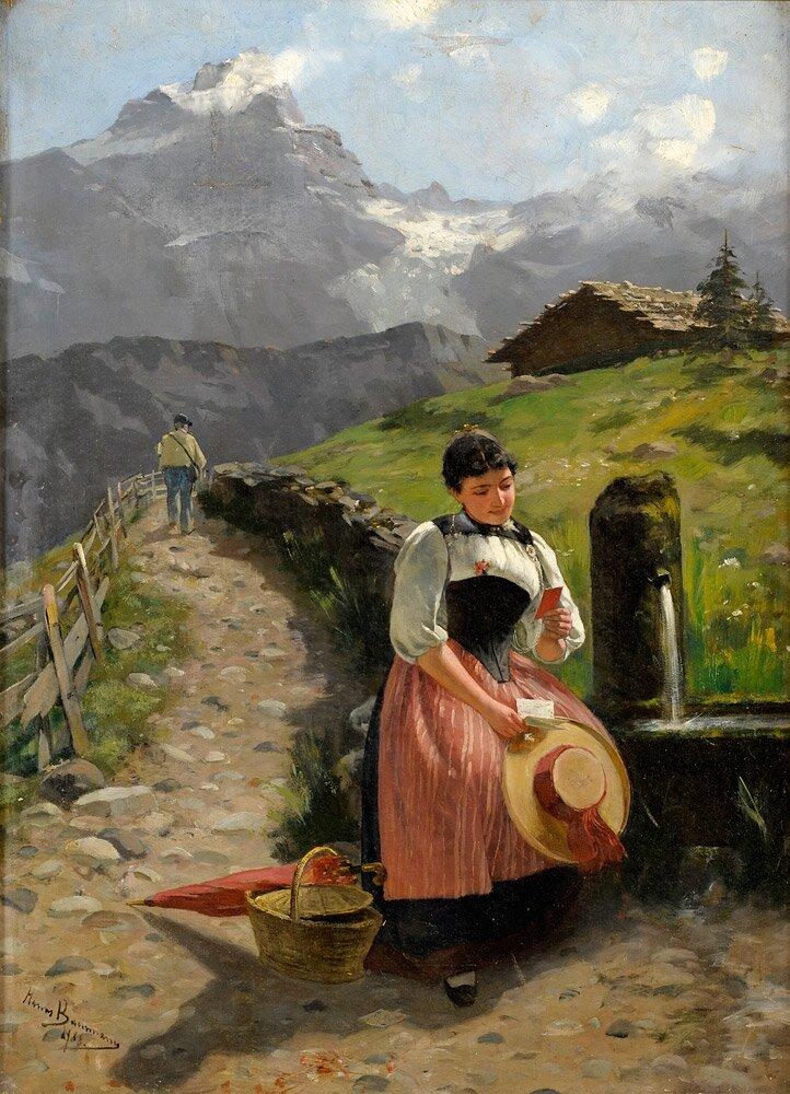 Zdjęcie ukochanego Źródło: Hans Bachmann, Zdjęcie ukochanego, 1888, olej na płótnie, domena publiczna.