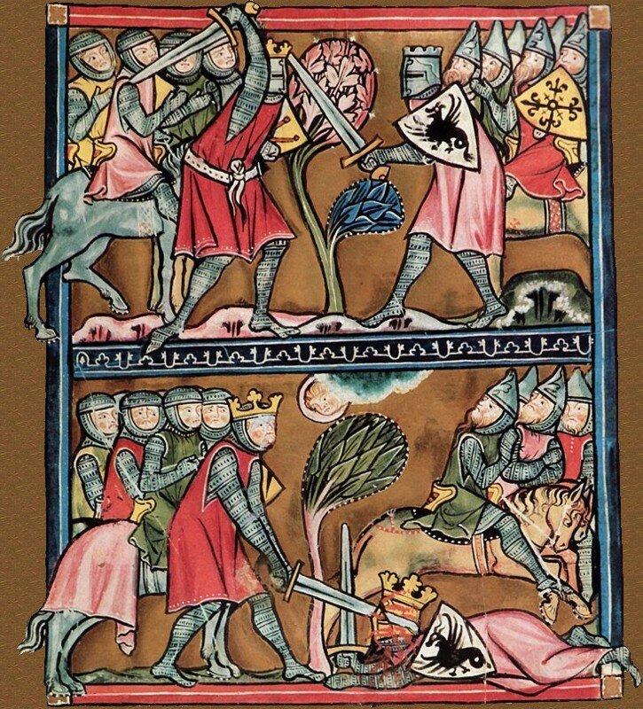 Karol Wielki walczy na miecze zBaligantem Miniatury zRękopisu zSt. Gallen (Szwajcaria) Źródło: Karol Wielki walczy na miecze zBaligantem, koniec XIII wieku, Stadtsbibliothek (Vadiana), domena publiczna.