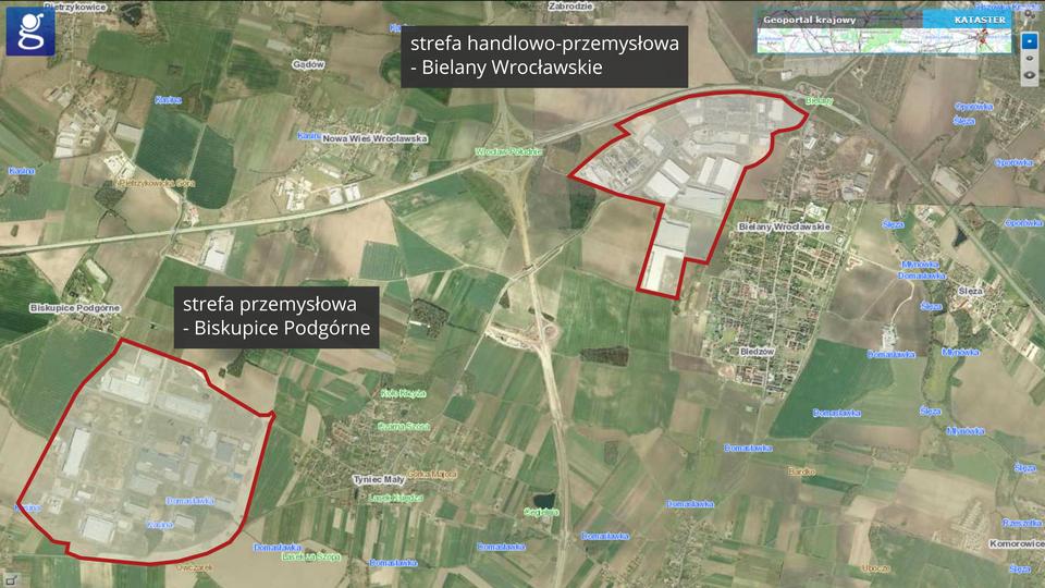 Na zdjęciu satelitarnym zaznaczono czerwonym konturem strefę handlowo-przemysłową Bielany Wrocławskie istrefę przemysłową Biskupice Podgórne. Każda znich ma większą powierzchnię niż sąsiednie wsie.