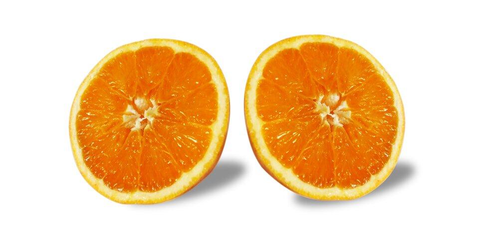 Rysunek pomarańczy iplastra pomarańczy wkształcie koła.