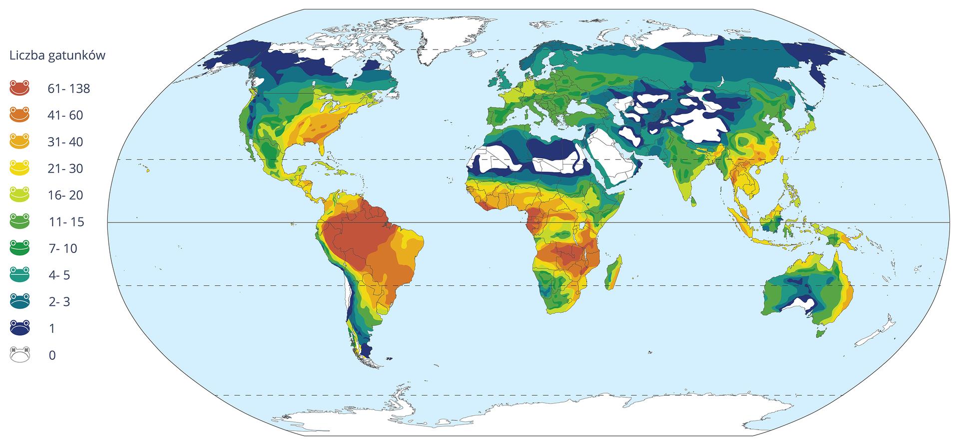 """Ilustracja przedstawia mapę świata. Na sylwetkach kontynentów kolorami oznaczono liczbę gatunków płazów zgodnie zlegendą po lewej stronie. Schematyczne """"buźki"""" płazów mają uśmiech tym większy, im więcej gatunków symbolizują. Od góry barwy symboli wskazują liczebność gatunków: od czerwonej (najwięcej) przez pomarańczową iżółtą, zielone, niebieskie, granatową do białej (brak płazów)."""