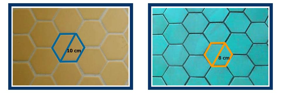Rysunki złożone zpłytek. Na pierwszym rysunku płytka terakoty jest sześciokątem foremnym odłuższej przekątnej równej 10 cm. Na drugim rysunku płytka glazury jest sześciokątem foremnym odłuższej przekątnej równej 8 cm.