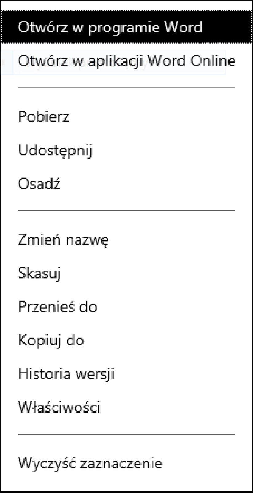 Zrzut okna menu kontekstowego