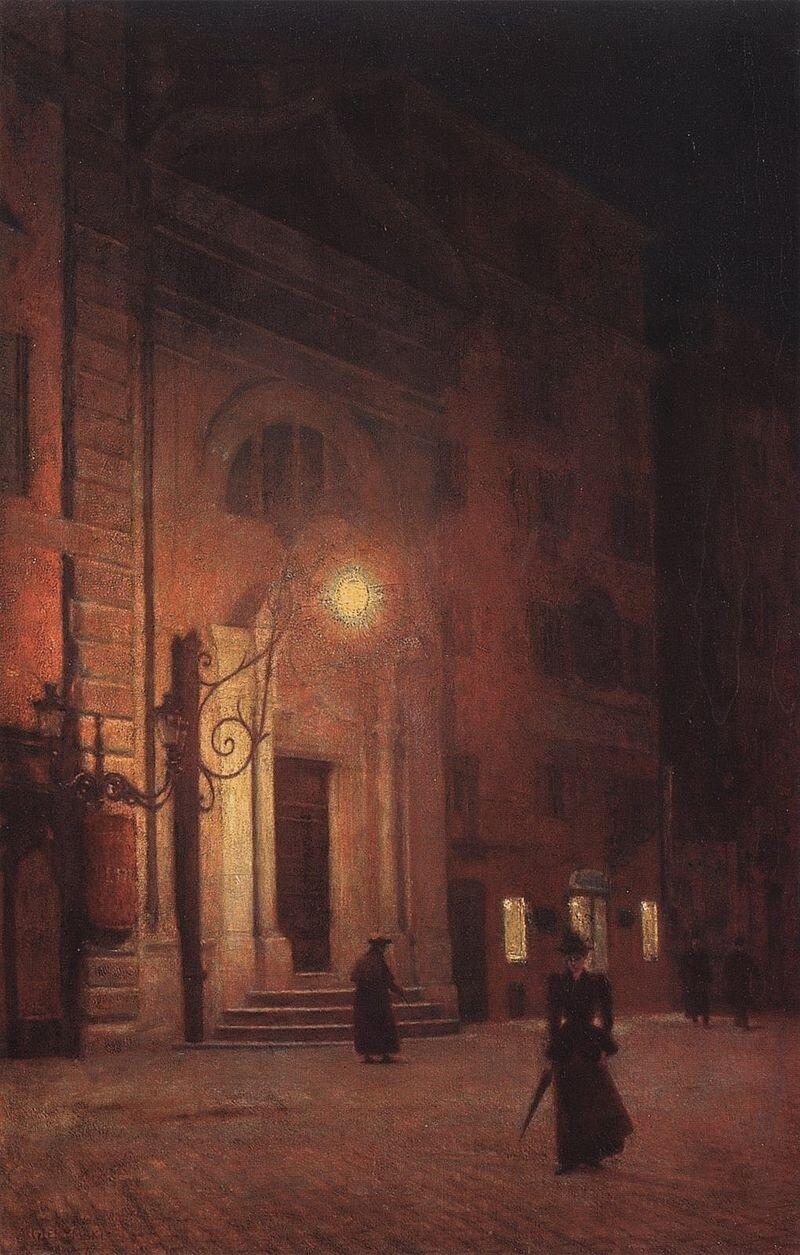 Ulica nocą Źródło: Aleksander Gierymski, Ulica nocą, olek na płótnie, Lwowska Galeria Sztuki.