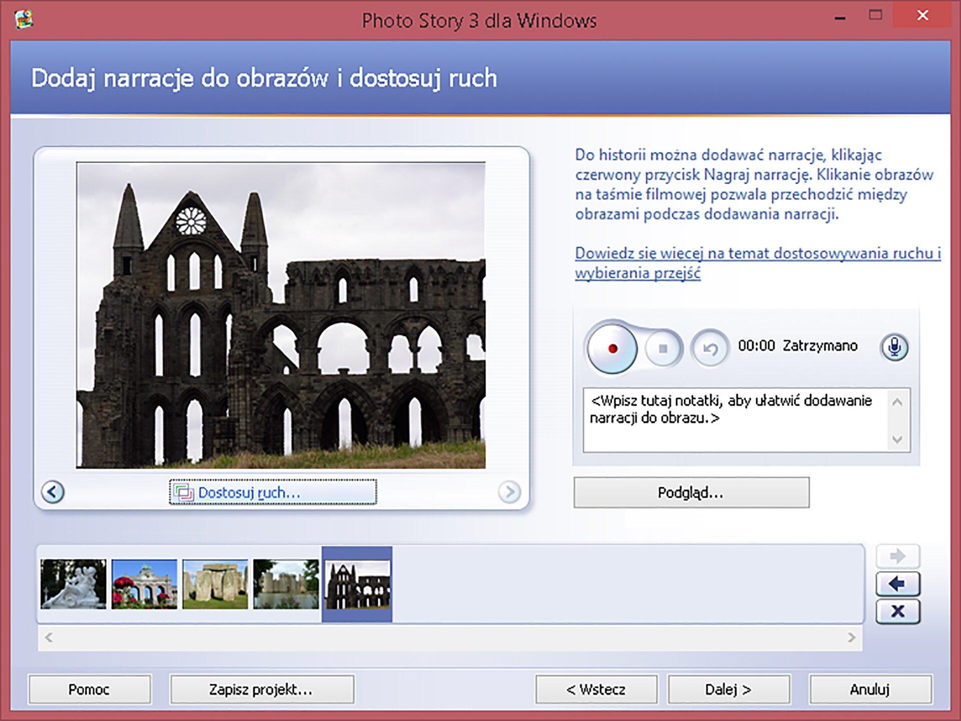 Zrzut okna: Dodaj narracje do obrazów idostosuj ruch wprogramie Photo Story 3 dla Windows