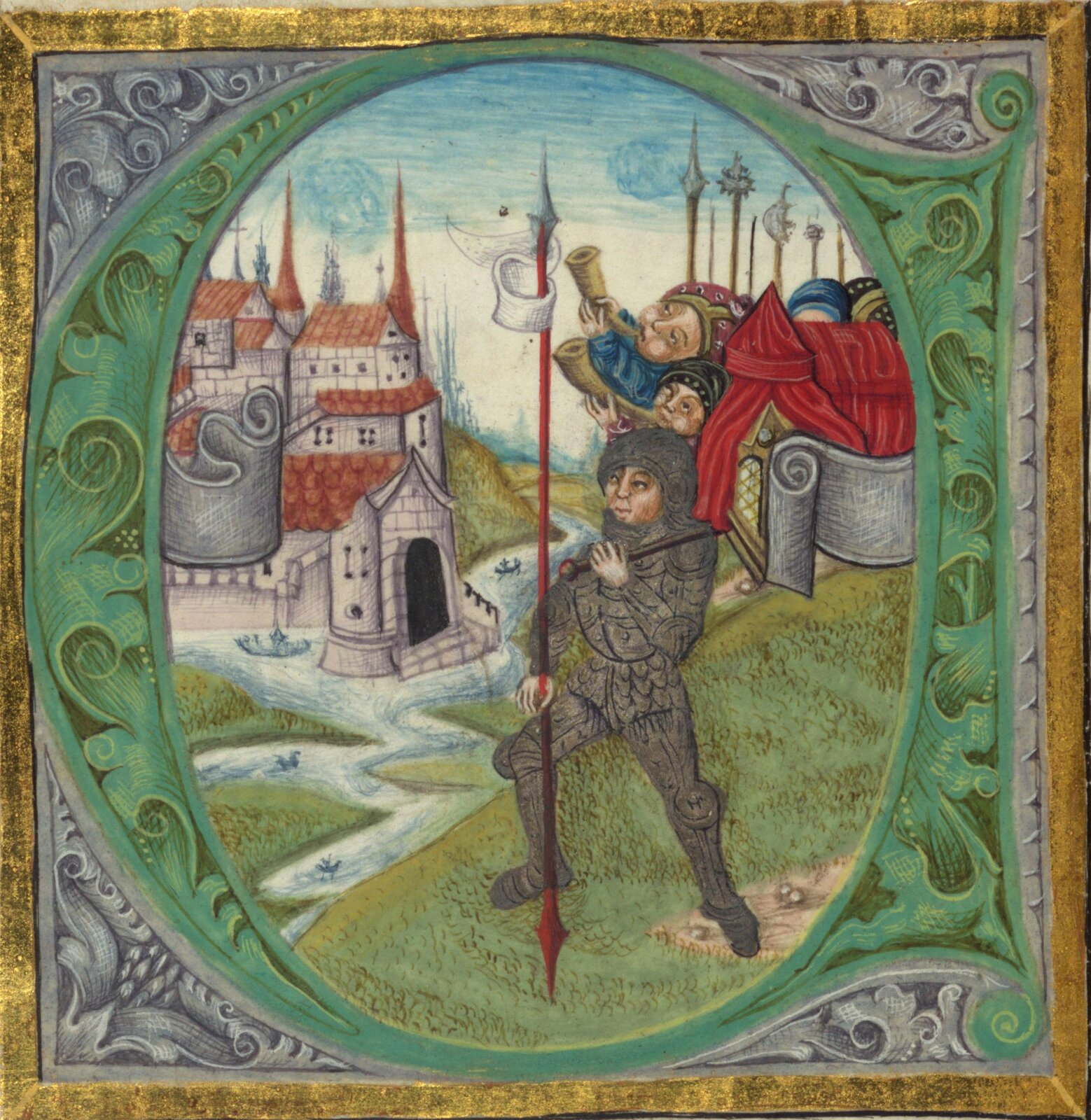 Zdjęcie przedstawia obraz wzłotej ramie. Na obrazie ukazanych jest trzech mężczyzn. Jeden znich ma rycerską zbroję. Wtle można zaobserwować zamek książęcy.