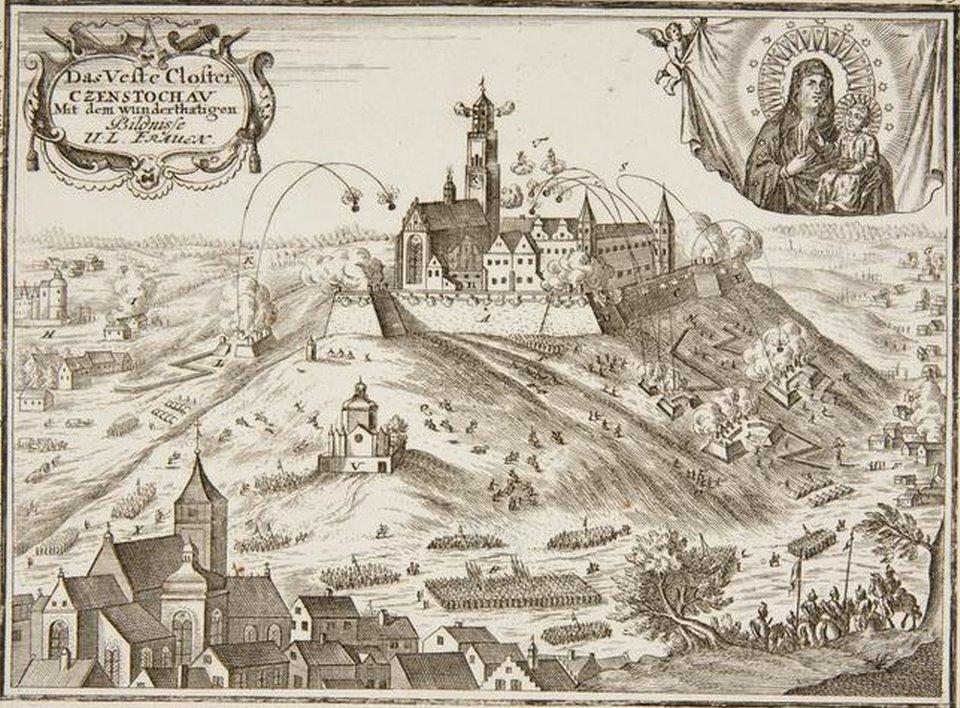 Częstochowa - Oblężenie Jasnej Góry w1655 roku. Częstochowa - Oblężenie Jasnej Góry w1655 roku. Źródło: Georg Christoph Kilian, 1758, akwaforta, miedzioryt, Muzeum Narodowe wKrakowie, domena publiczna.