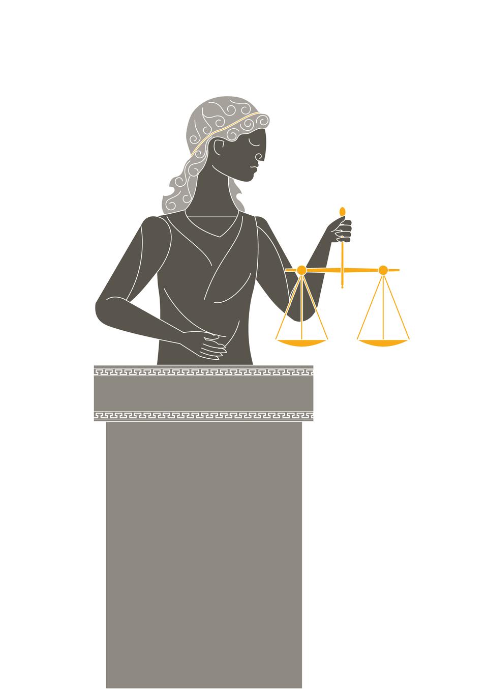 Temida, bogini prawa isprawiedliwości, była czczona przez Greków jako doradczyni Zeusa. Opiekowała się sądami. Przedstawiano ją zopaską na oczach, symbolizującą bezstronność iwydawanie wyroków wyłącznie na podstawie prawa. Trzymała wagę służącą do sprawiedliwego oceniania dowodów winy iniewinności oskarżonego. Temida, bogini prawa isprawiedliwości, była czczona przez Greków jako doradczyni Zeusa. Opiekowała się sądami. Przedstawiano ją zopaską na oczach, symbolizującą bezstronność iwydawanie wyroków wyłącznie na podstawie prawa. Trzymała wagę służącą do sprawiedliwego oceniania dowodów winy iniewinności oskarżonego. Źródło: Contentplus.pl sp. zo.o., licencja: CC BY-SA 4.0.