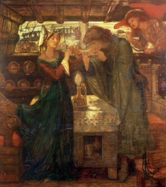 Obraz przedstawia kobietę imężczyznę wpomieszczeniu. Kobieta jest po lewej stronie obrazu, mężczyzna po prawej. Mężczyzna trzyma lewą dłoń kobiety icałuje ją, nachylając głowę. Para trzyma wdłoniach kielichy. Kobieta ma na sobie długą suknię, mężczyzna długie szaty. Stoją przy stoliku, na którym pali się świeca. Po prawej stronie obrazu, blisko kochanków, znajduje się amor ze strzałą iskrzydłami. Wtle przez okno widać statek.
