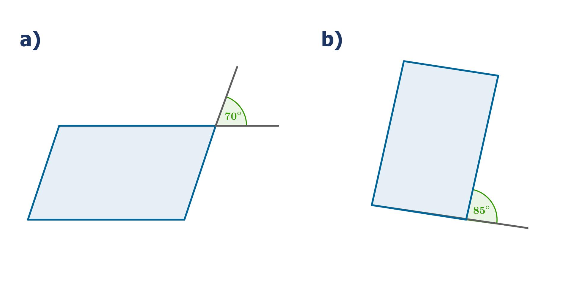 Rysunki dwóch równoległoboków. Wpierwszym równoległoboku zaznaczony kąt 70 stopni, który jest kątem wierzchołkowym do jednego zkątów wewnętrznych równoległoboku. Wdrugim równoległoboku zaznaczony kąt 85 stopni, który jest kątem przyległym do jednego zkątów wewnętrznych równoległoboku.