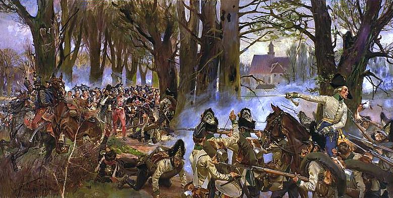 Bitwa pod Raszynem Źródło: Wojciech Kossak, Bitwa pod Raszynem, 1913, domena publiczna.