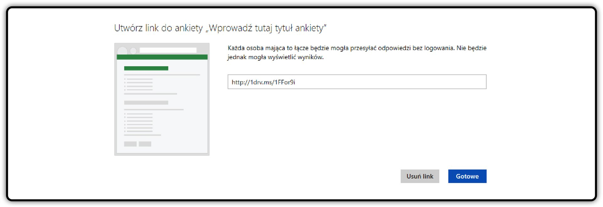 Zrzut okna: Utwórz link do ankiety