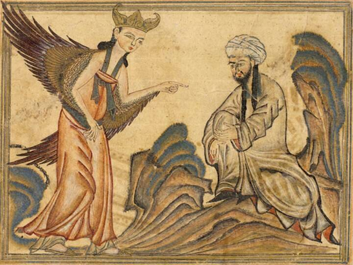 Mahomet pisze Koran pod dyktando Gabriela, ilustracja zXIV-wiecznej księgi perskiej Mahomet pisze Koran pod dyktando Gabriela, ilustracja zXIV-wiecznej księgi perskiej Źródło: Wikimedia Commons, licencja: CC 0.