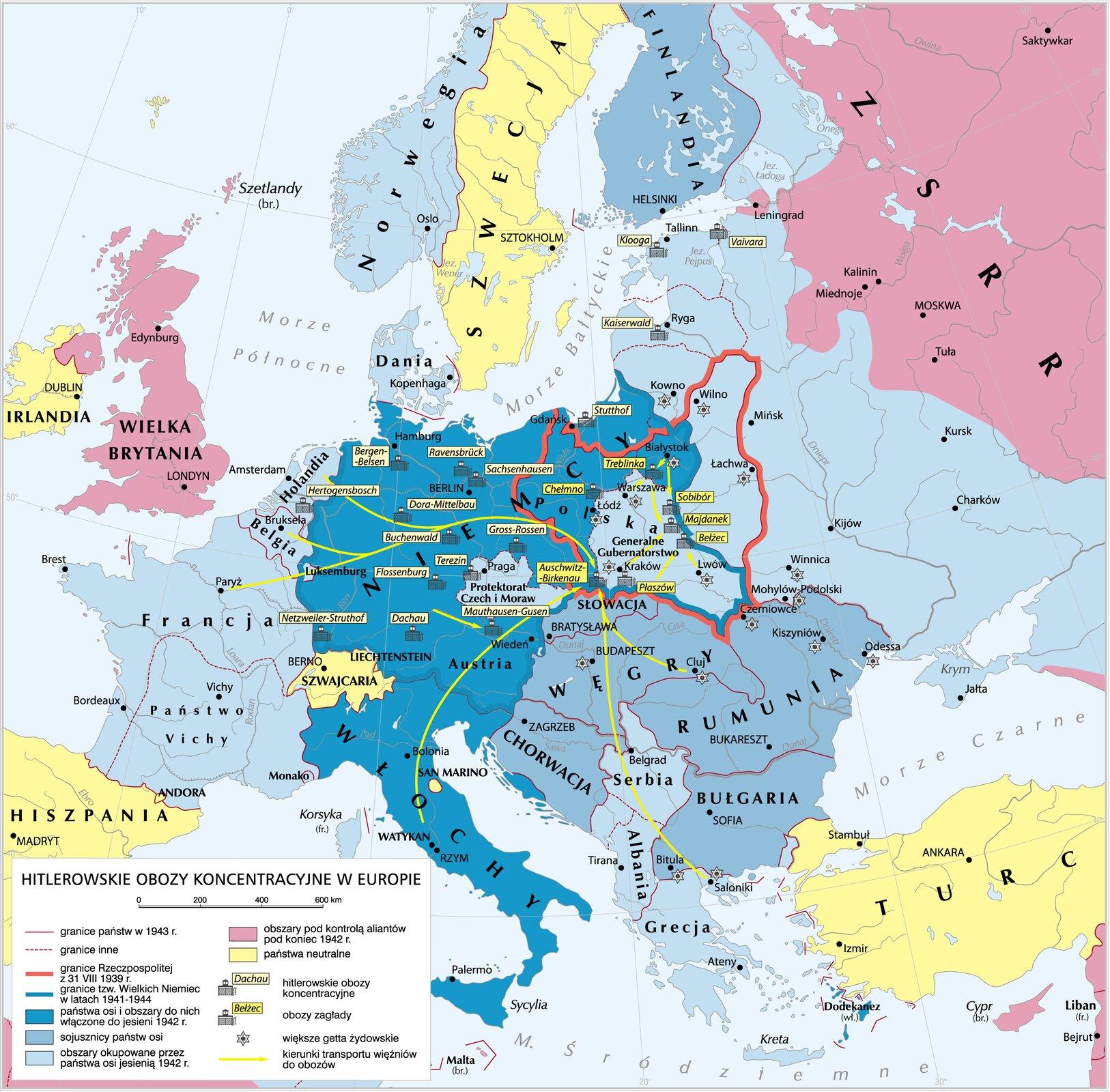 Niemieckie obozy koncentrancyjnewEuropie Niemieckie obozy koncentrancyjnewEuropie Źródło: Krystian Chariza izespół, licencja: CC BY 3.0.