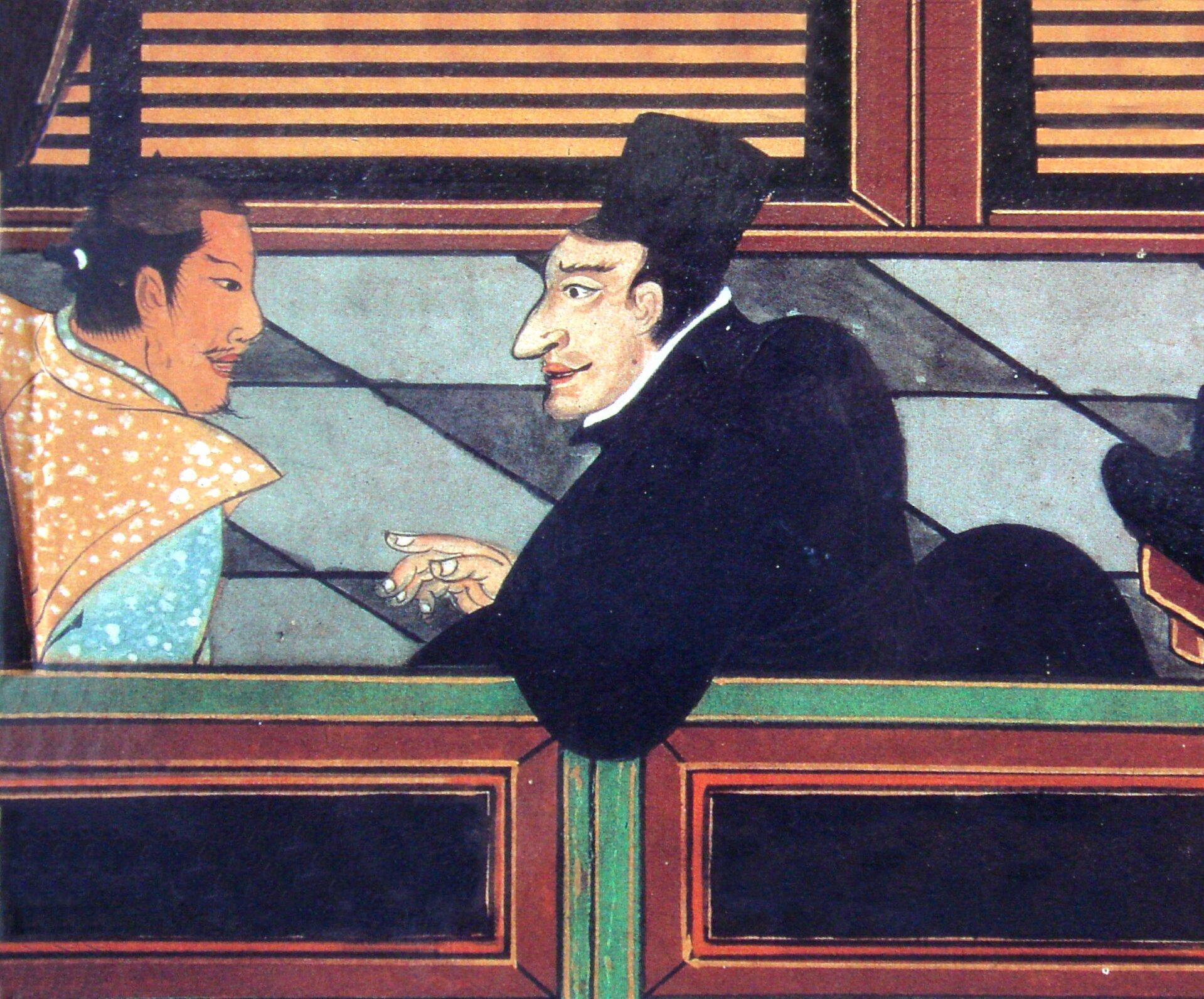 Jezuita dyskutuje zjapońskim możnym Źródło: Jezuita dyskutuje zjapońskim możnym, ok. 1600, domena publiczna.