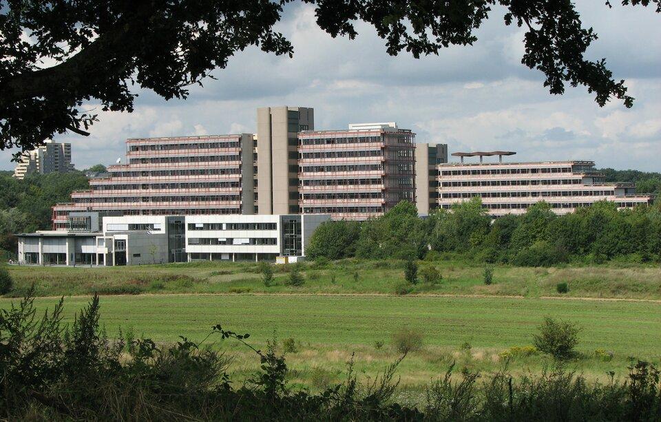 Na zdjęciu nowoczesne budynki, na pierwszym planie tereny zielone.