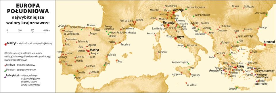 Ilustracja przedstawia mapę Europy Południowej. Na mapie sygnaturami zaznaczono najwybitniejsze walory krajoznawcze: ośrodki kulturowe iobiekty przyrodnicze zwalorami wpisanymi na Listę Światowego Dziedzictwa Przyrodniczego iKulturowego UNESCO oraz wielkie ośrodki europejskiej kultury: Madryt, Florencja, Wenecja, Rzym, Ateny, Stambuł. Największe zagęszczenie sygnatur we Włoszech, Grecji, Hiszpanii. Dookoła mapy wbiałej ramce opisano współrzędne geograficzne co dziesięć stopni. Wlegendzie umieszczono iopisano kolory użyte na mapie.