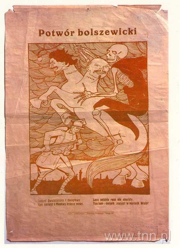 Potwór bolszewicki, 1920 Potwór bolszewicki, 1920 Źródło: licencja: CC 0, [online], dostępny winternecie: http://biblioteka.teatrnn.pl/dlibra/dlibra/doccontent?id=12352&from=FBC [dostęp 23.10.2015 r.].