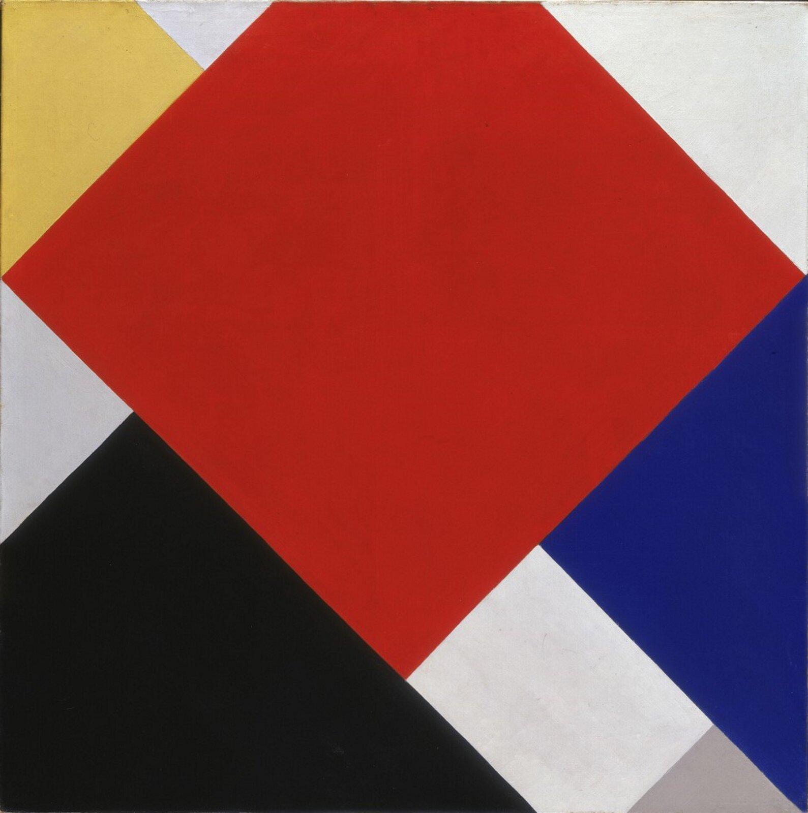 """Ilustracja przedstawia obraz Theo van Doesburga pt. """"Counter Composition V"""". Ukazuje on różne, kolorowe geometryczne kształty."""