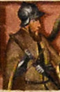 Ilustracja przedstawiająca postać Kaźko Słupskiego ustawionego bokiem jak do portretu zhełmem na głowie iszablą wręce.