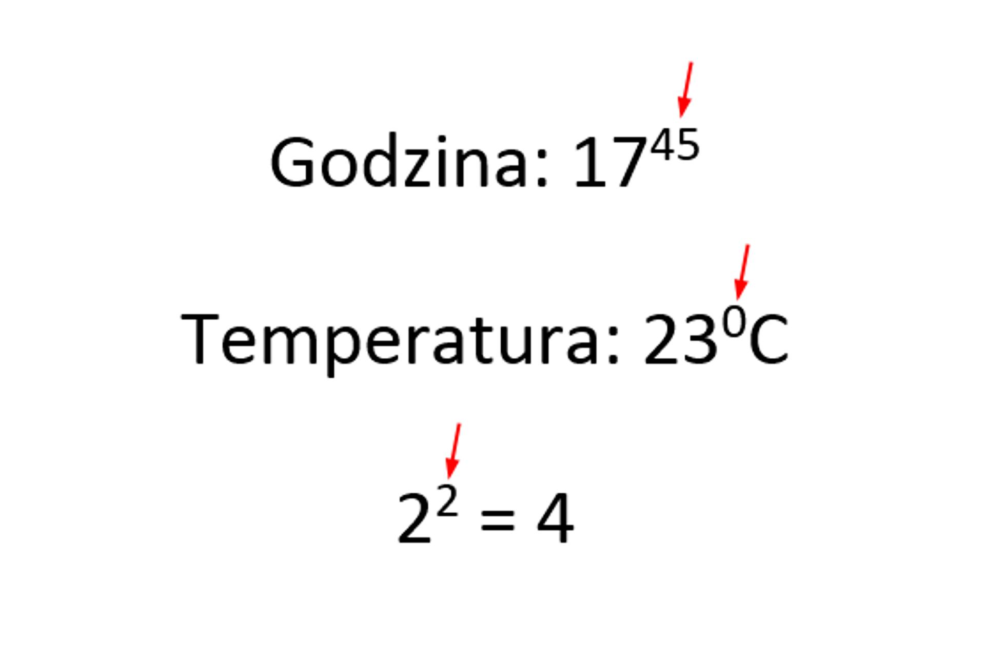 Zrzut dokumentu zpokazanymi przykładami wykorzystania indeksu górnego