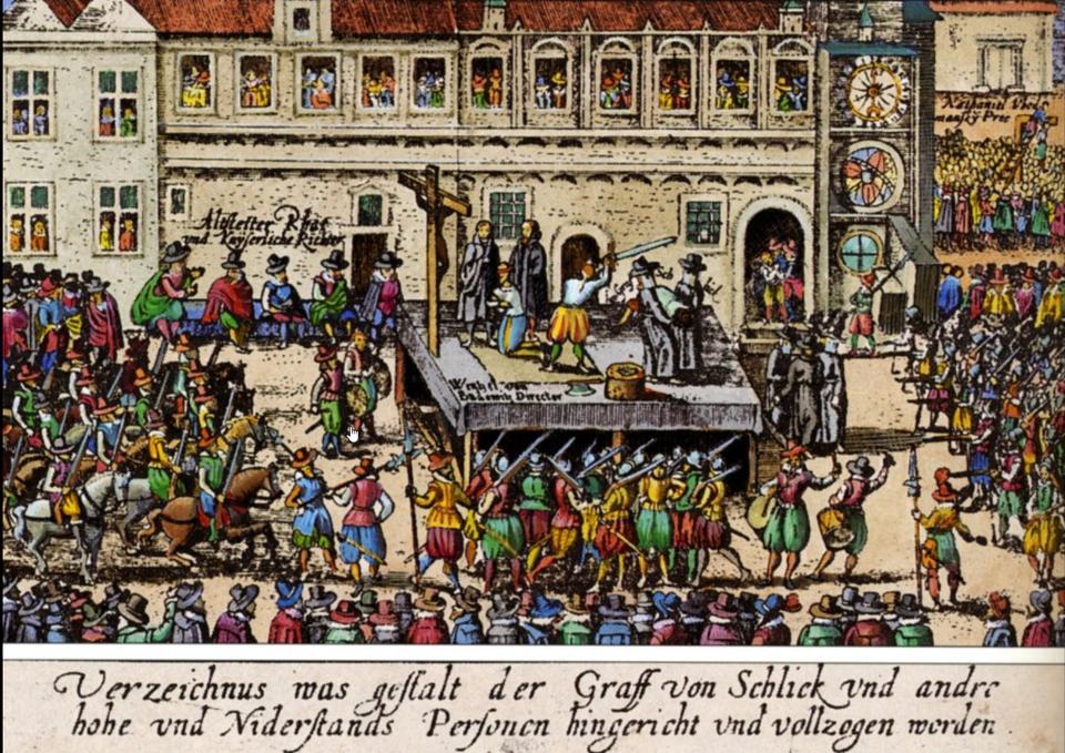 Egzekucja dyrektorów powstania czeskiego wPradze, 21 czerwca 1621 roku Po bitwie pod Białą Górącesarski trybunał osądził 30 przywódców powstania i27 znich skazał na śmierć (dwudziestą ósmą ofiarą był rycerz zPodoli, który został zamordowany jeszcze wtrakcie trwania procesu). Egzekucja została wykonanana rynku staromiejskim wPradze. Poza tym trybunał wojskowy wydał jeszcze ponad 600 wyrokówśmierci,głównie wobecprzedstawicieli czeskiej elity. Źródło: autor nieznany, Egzekucja dyrektorów powstania czeskiego wPradze, 21 czerwca 1621 roku, 1621, sztych, domena publiczna.