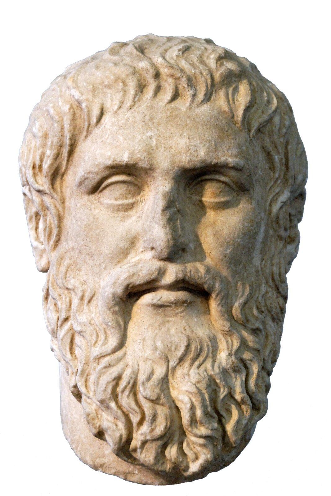 Popiersie Platona (kopia rzeźby Silaniona) Popiersie Platona (kopia rzeźby Silaniona) Źródło: Marie-Lan Nguyen, Muzea Kapitolińskie, licencja: CC BY-SA 2.5.
