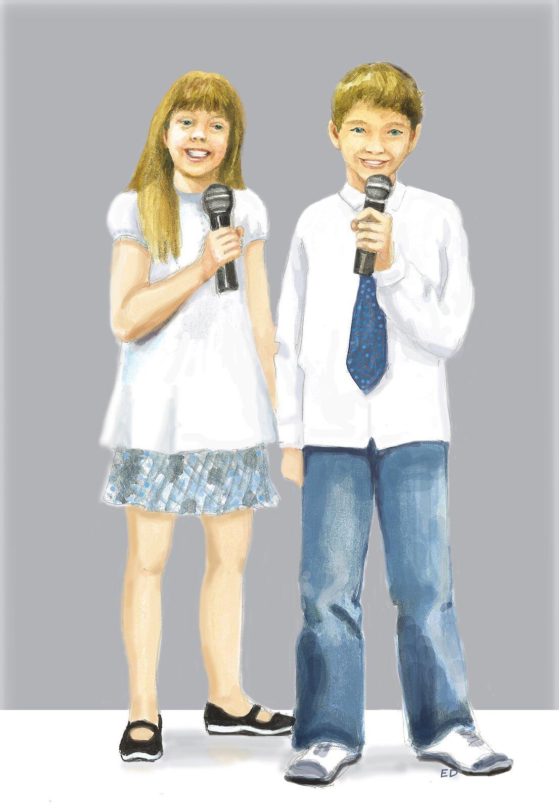 Ilustracja przedstawiająca uczniów zmikrofonem