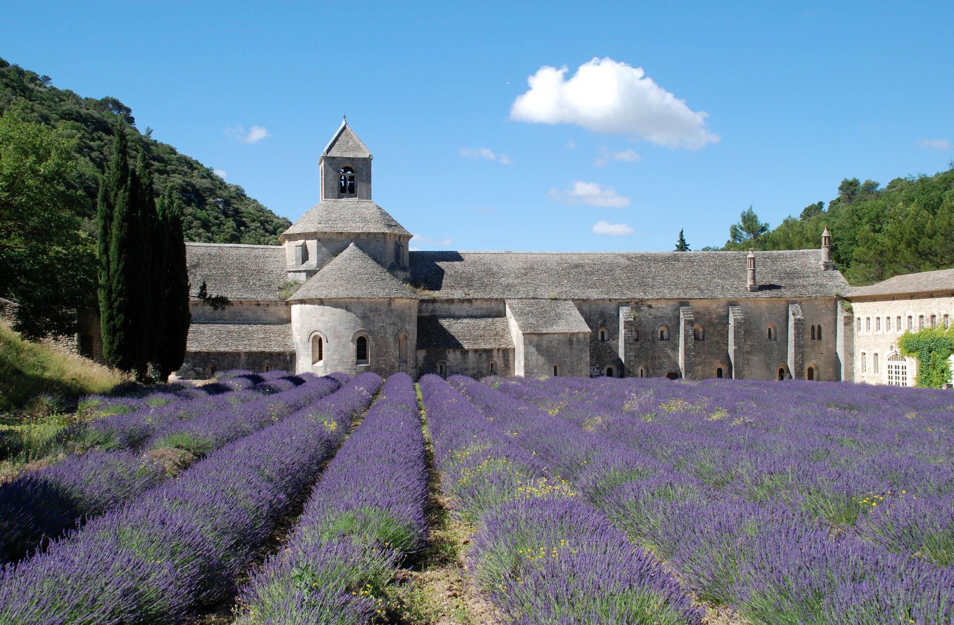 Opactwo cysterskie Notre-Dame de Sénanque wProwansji, połowa XII wieku Opactwo cysterskie Notre-Dame de Sénanque wProwansji, połowa XII wieku Źródło: EmDee, licencja: CC BY 2.5.