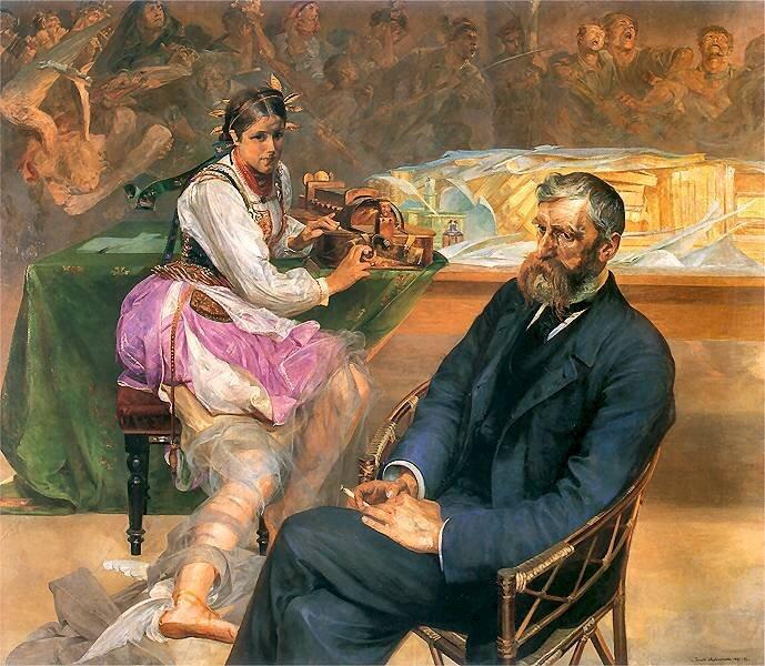 Portret Adama Asnyka zMuzą Źródło: Jacek Malczewski, Portret Adama Asnyka zMuzą, 1895–1897, olej na płótnie, Muzeum Narodowe wPoznaniu, domena publiczna.