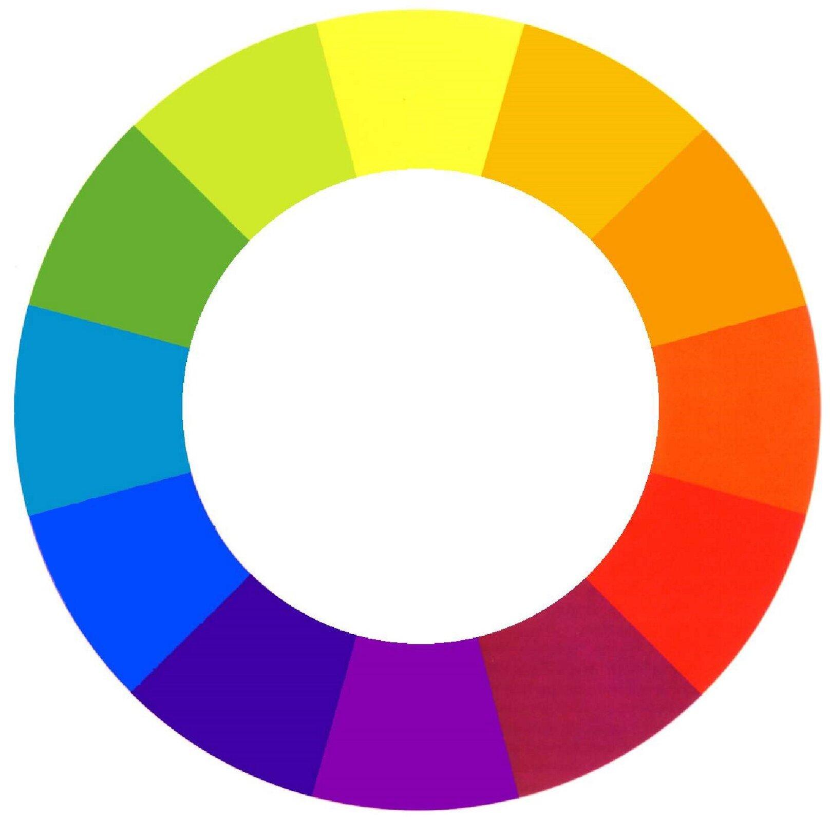Ilustracja przedstawia koło barw. Zaznaczonych jest na nim dwanaście kolorów - od jasnożółtego, przez pomarańcze, czerwony, różne odcienie fioletów , kolorów niebieskich, aż po zielenie.