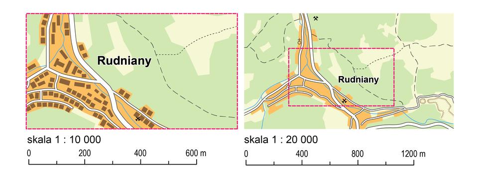 Dwie ilustracje przedstawiają tę samą miejscowość na mapach wykonanych wróżnych skalach. Pierwsza ilustracja od lewej strony przedstawia mapę miejscowości Rudniany wykonaną wskali jeden do dziesięciu tysięcy. Na mapie zaznaczone są ulice (kolorem białym) oraz położone wzdłuż nich budynki (zaznaczone kolorem brązowym). Druga ilustracja przedstawia mapę tej samej miejscowości wykonaną wskali jeden do dwudziestu tysięcy. Mapa pokazuje miejscowość, której obszar zaznaczono czerwoną ramką oraz okoliczne tereny (poza ramką). Na mapie nie widać budynków, jedynie brązowy kolor, który je cechuje. Zaznaczony jest on wzdłuż białych linii, które oznaczają drogi. Mapa, która wykonana jest wmniejszej skali pokazuje mniej szczegółów.