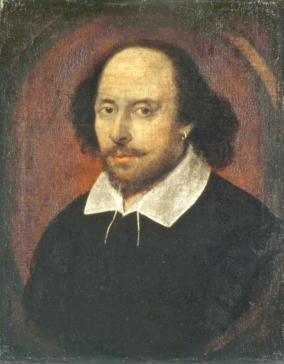 Szekspir Źródło: Szekspir, 1610, Olej na płótnie, National Portrait Gallery, domena publiczna.