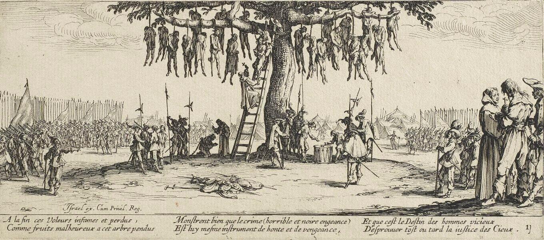 Okrucieństwa wojny Źródło: Jacques Callot, Okrucieństwa wojny, 1632, Akwaforta, Art Gallery of New South Wales, domena publiczna.
