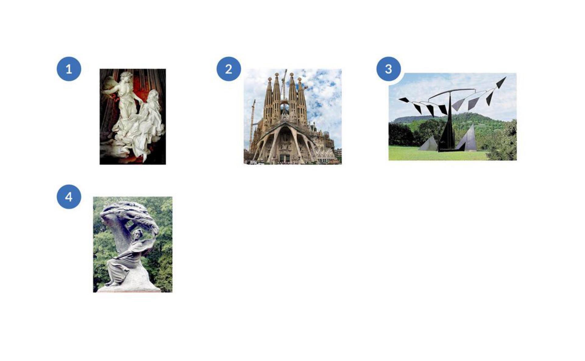 Pierwsze ze zdjęć znumerem 1 to to rzeźba wbiałym kolorze przedstawiająca dwie osoby. Postacie są wruchu lub rozmawiają. Jedna zosób stoi zwyciągniętą ręką wkierunku drugiej. Druga postać jest wpozycji siedzącej. Drugie ze zdjęć znumerem 2 to to strzelista budowla, fragment kościoła Sagrada Familia wBarcelonie. Widać cztery szpiczaste wieże oraz szerokie wejście udołu kościoła wsparte na lekko pochylonych kolumnach. Trzecie ze zdjęć znumerem 3 to konstrukcja stojąca na trawniku na tle zieleni. Składa się zwielu elementów ozróżnicowanej fakturze. Czwarte ze zdjęć znumerem 4 to pomnik Fryderyka Chopina wWarszawie. Wykonany zbrązu, przedstawia polskiego kompozytora siedzącego pod drzewem. Gałęzie malowniczo pochylają się, jakby pod wpływem silnego wiatru. Nad głową Chopina układają się wkształt dłoni. Postać artysty wydaje się być zespolona zdrzewem, poły jego płaszcza powiewają. Chopin został ukazany lekko odchylony, zprzymkniętymi oczami, prawą rękę unoszący wpowietrzu.