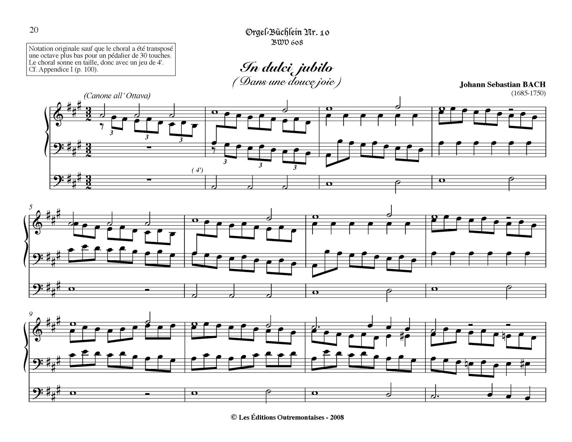 """Ilustracja przedstawia zapis nut utworu przygrywka chorałowa """"In dulci jubilo"""", BWV 729, autorstwa: Jana Sebastiana Bacha."""