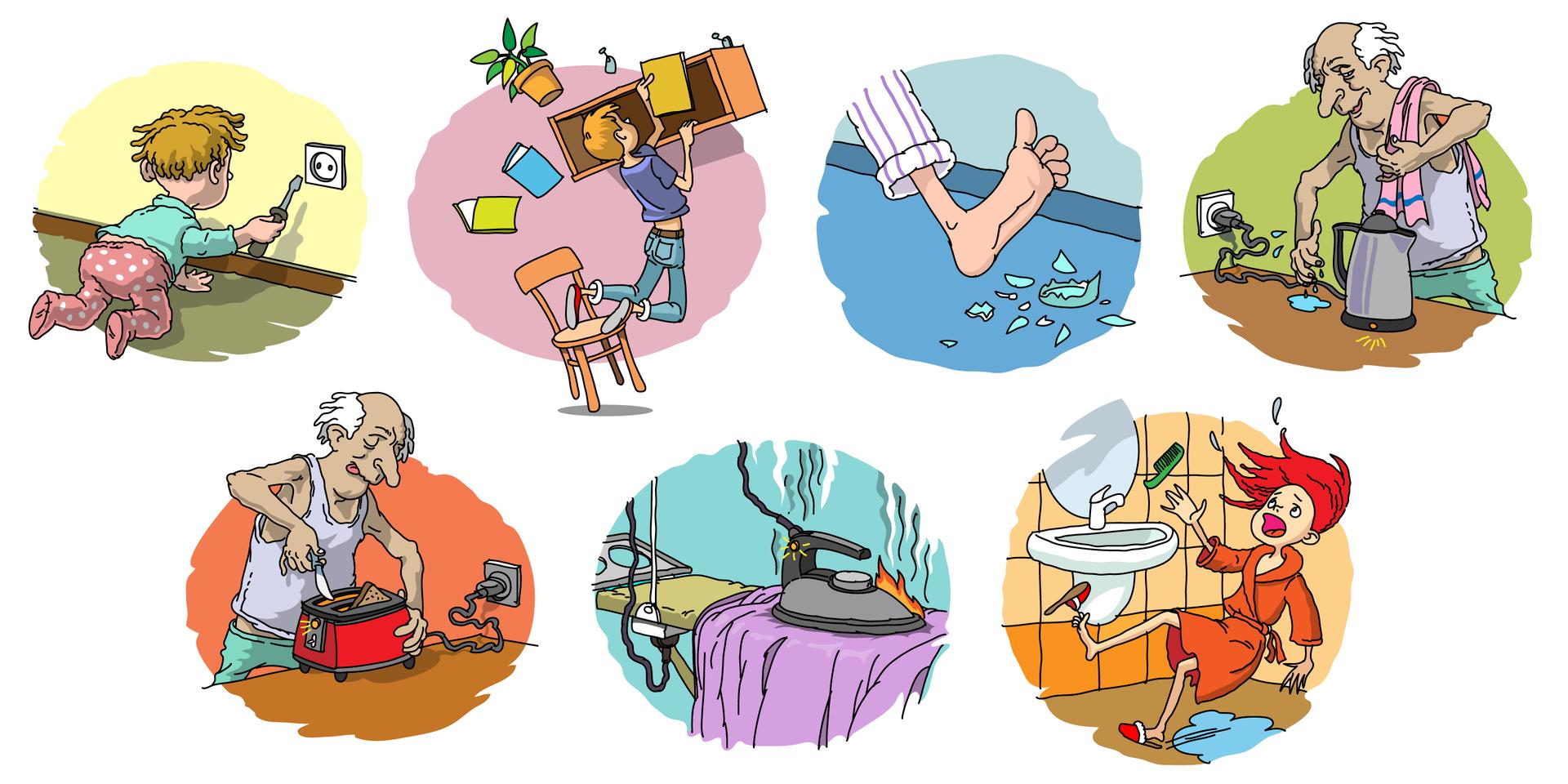Ilustracja składa się zsiedmiu rysunków ocharakterze komiksowym ułożonych wdwóch rzędach. Przedstawione na rysunkach sytuacje dotyczą niebezpiecznych sytuacji iczynności wykonywanych wdomu. Wpierwszym rzędzie rysunek zlewej strony przedstawia małe raczkujące dziecko naprzeciw ściany. Na ścianie znajduje się kontakt do którego dziecko próbuje włożyć śrubokręt. Drugi rysunek przedstawia ucznia próbującego włożyć książkę na półkę wiszącą wysoko na ścianie. Krzesło, na którym stoi przewraca się iuczeń spada łapiąc za półkę, która zrywa się zhaka. Trzeci rysunek przedstawia gołą stopę wspodniach od pidżamy wykonującą krok wprost na rozbite kawałki butelki leżące na podłodze. Czwarty element przedstawia starszego mężczyznę gotującego wodę welektrycznym czajniku. Mężczyzna ma ręcznik przerzucony przez ramię iwyraźnie mokrą dłoń, którą chce złapać za przewód podłączony do prądu. Rząd drugi rozpoczyna rysunek tego samego starszego mężczyzny próbującego metalowym nożem wyjąć zpodłączonego do prądu tostera wyjąć zaklinowaną grzankę. Drugi rysunek wtym rzędzie przedstawia deskę do prasowania ipodłączone do prądu żelazko pozostawione leżące na prasowanym ubraniu. Nad żelazkiem unoszą się kłęby dymu, ana styku stopy itkaniny widać płomienie. Ostatni rysunek przedstawia łazienkę, fragment zumywalką ilustrem. Dziewczyna wszlafroku ipantoflach przewraca się iupada po poślizgnięciu na plamie wody zalegającej na podłodze.