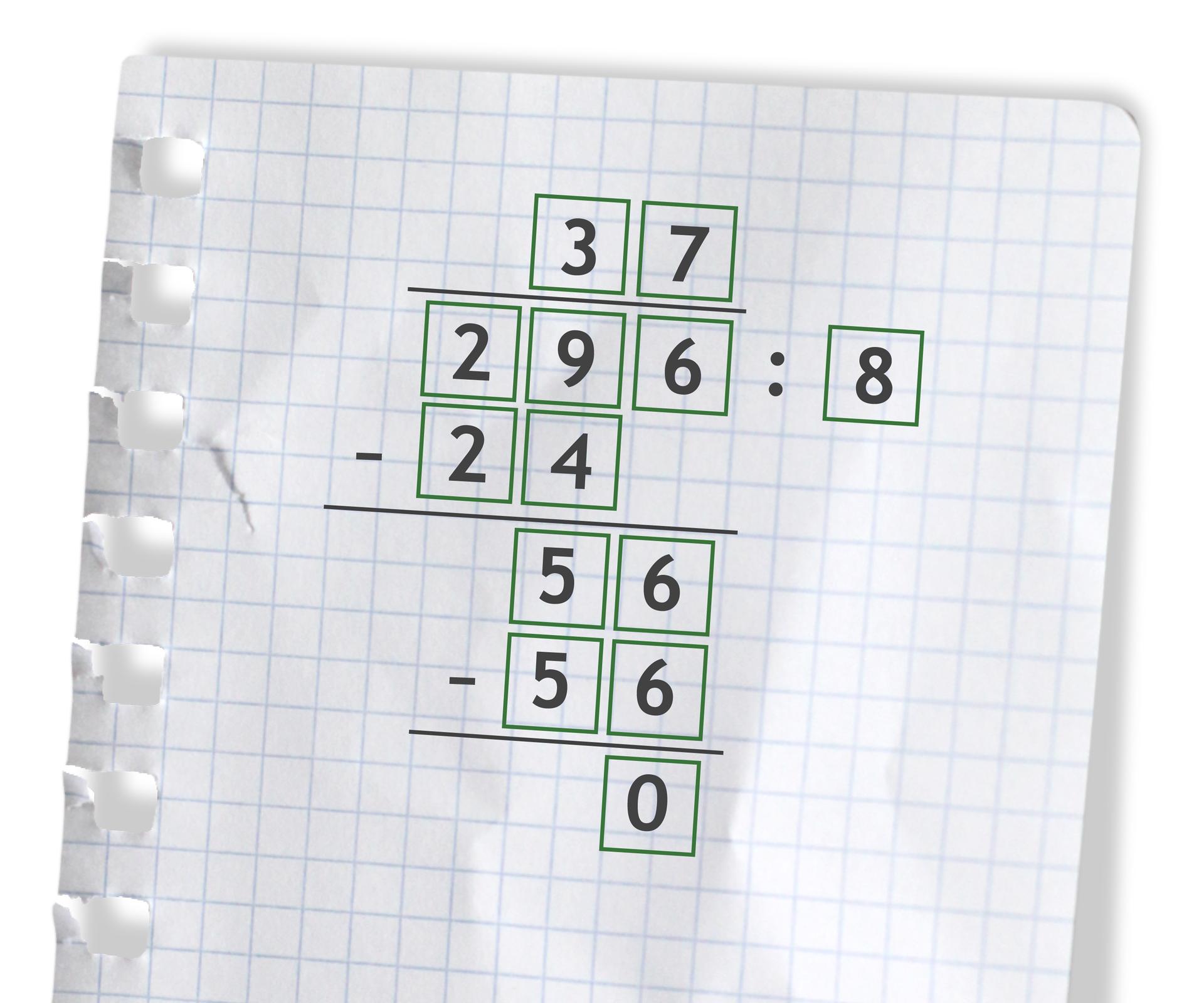 Przykład: 296 dzielone przez 8 =37. Rozwiązanie zadania.