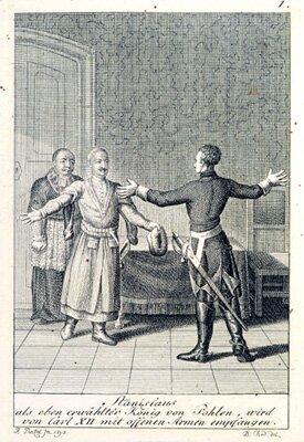 Karol XII iStanisław Leszczyński Źródło: Daniel Nikolaus Chodowiecki, Karol XII iStanisław Leszczyński, domena publiczna.