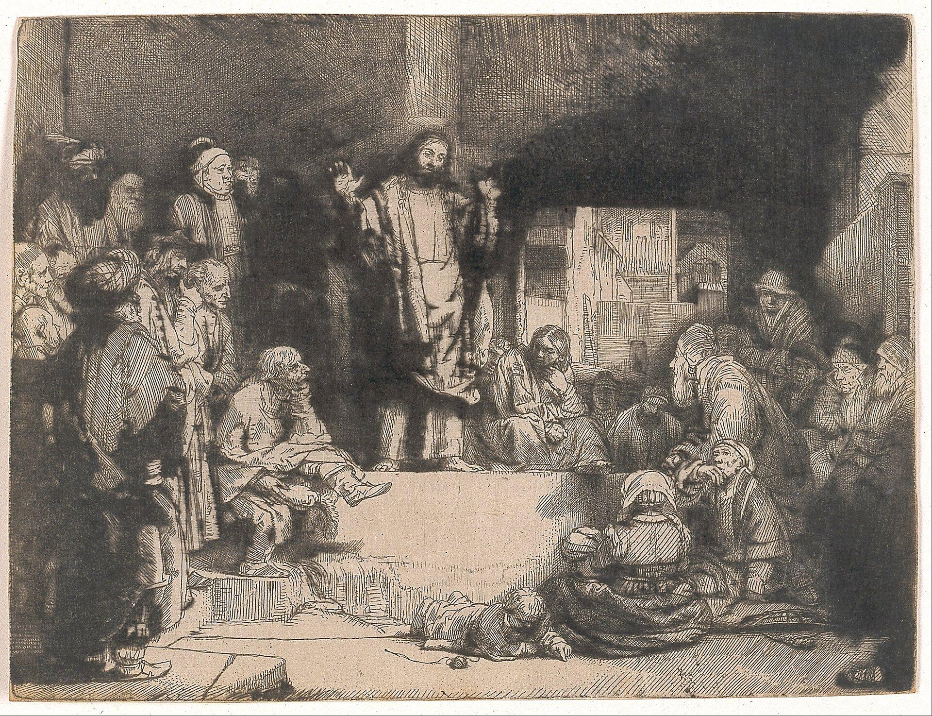 Chrystus nauczający Źródło: Rembrandt van Rijn, Chrystus nauczający, ok.1652, grafika, Saint Louis Art Museum, Saint Louis, domena publiczna.