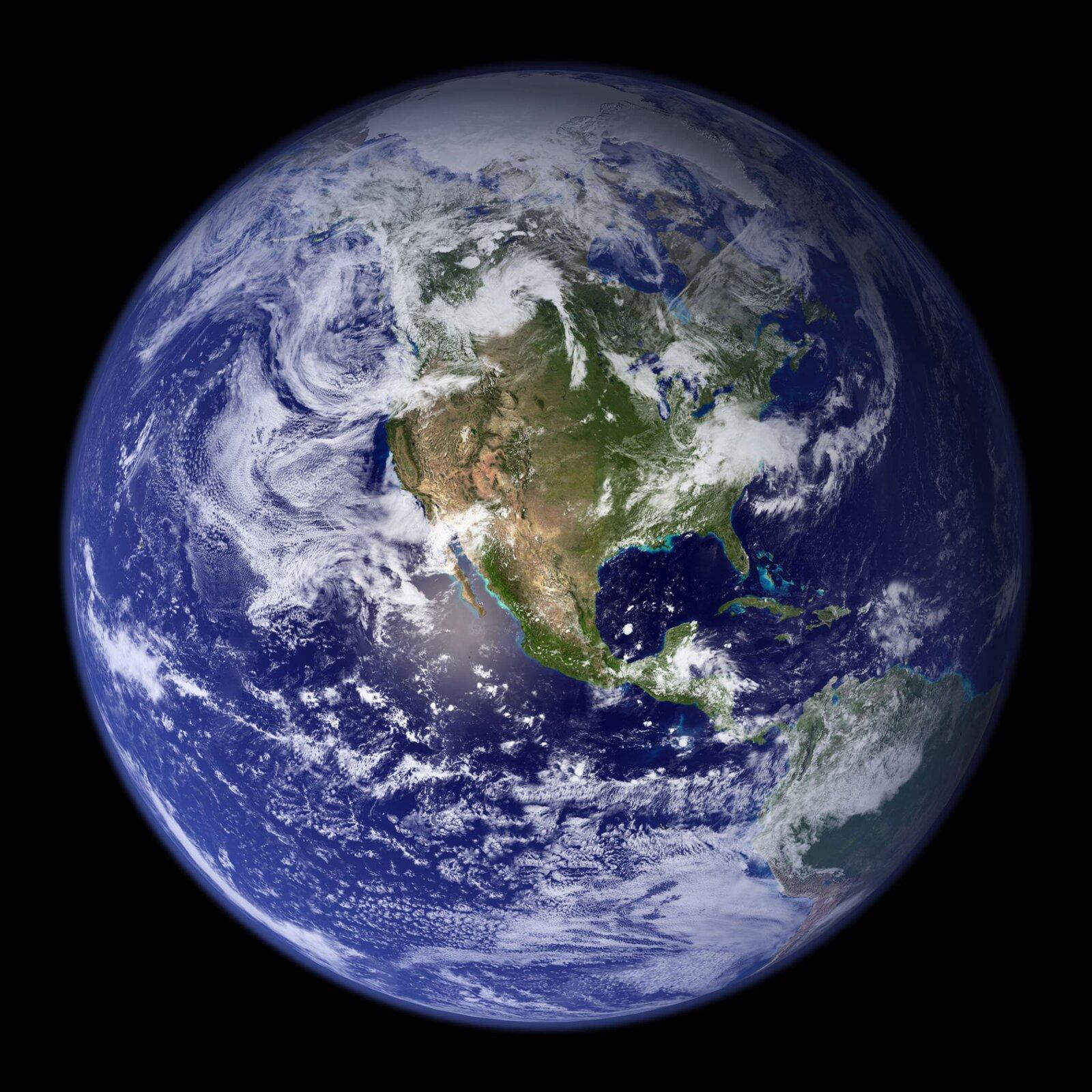 Zdjęcie satelitarne przedstawiające kulę ziemską.