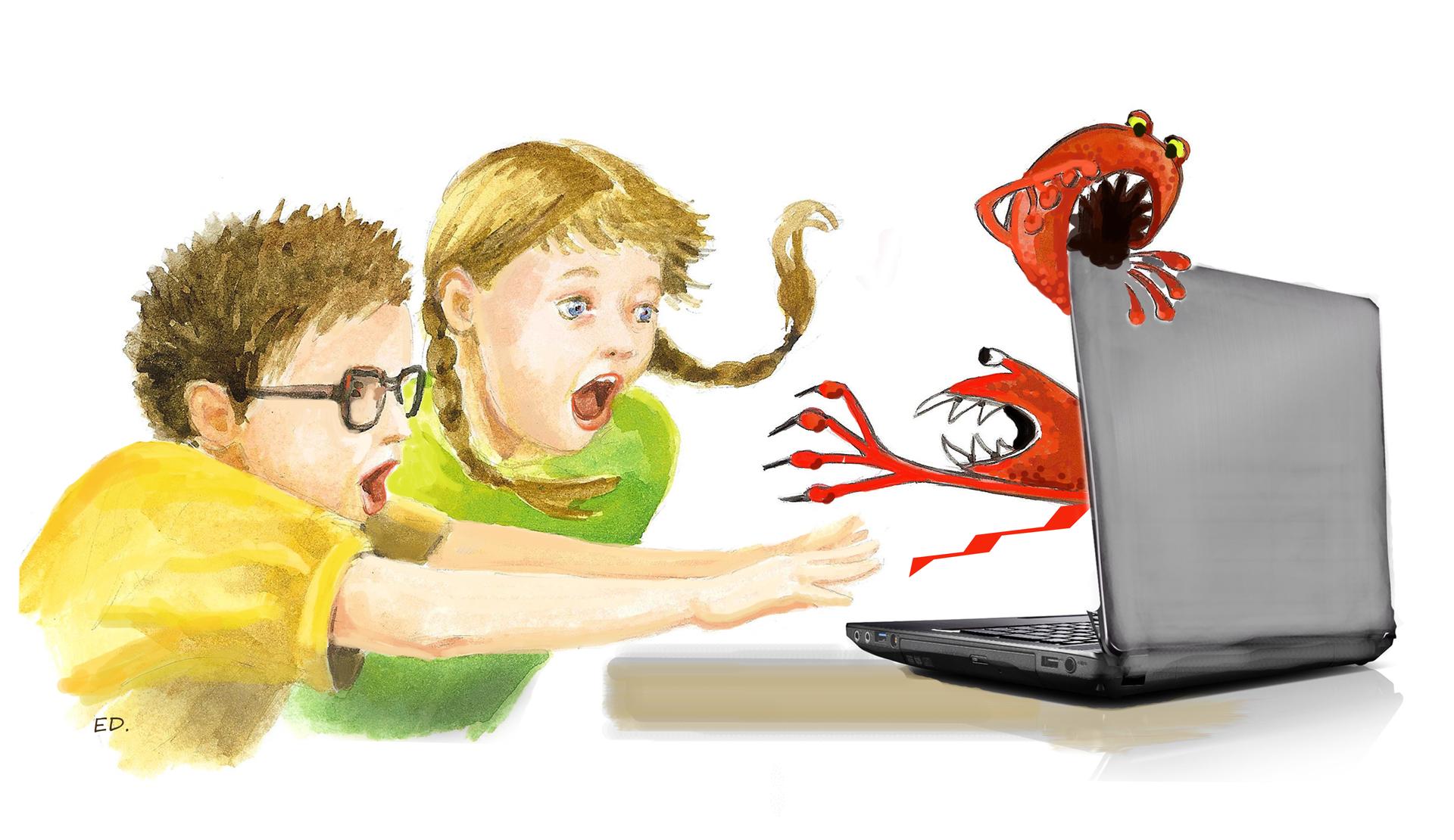 Ilustracja przedstawiajaca dzieci iwirusy komputerowe