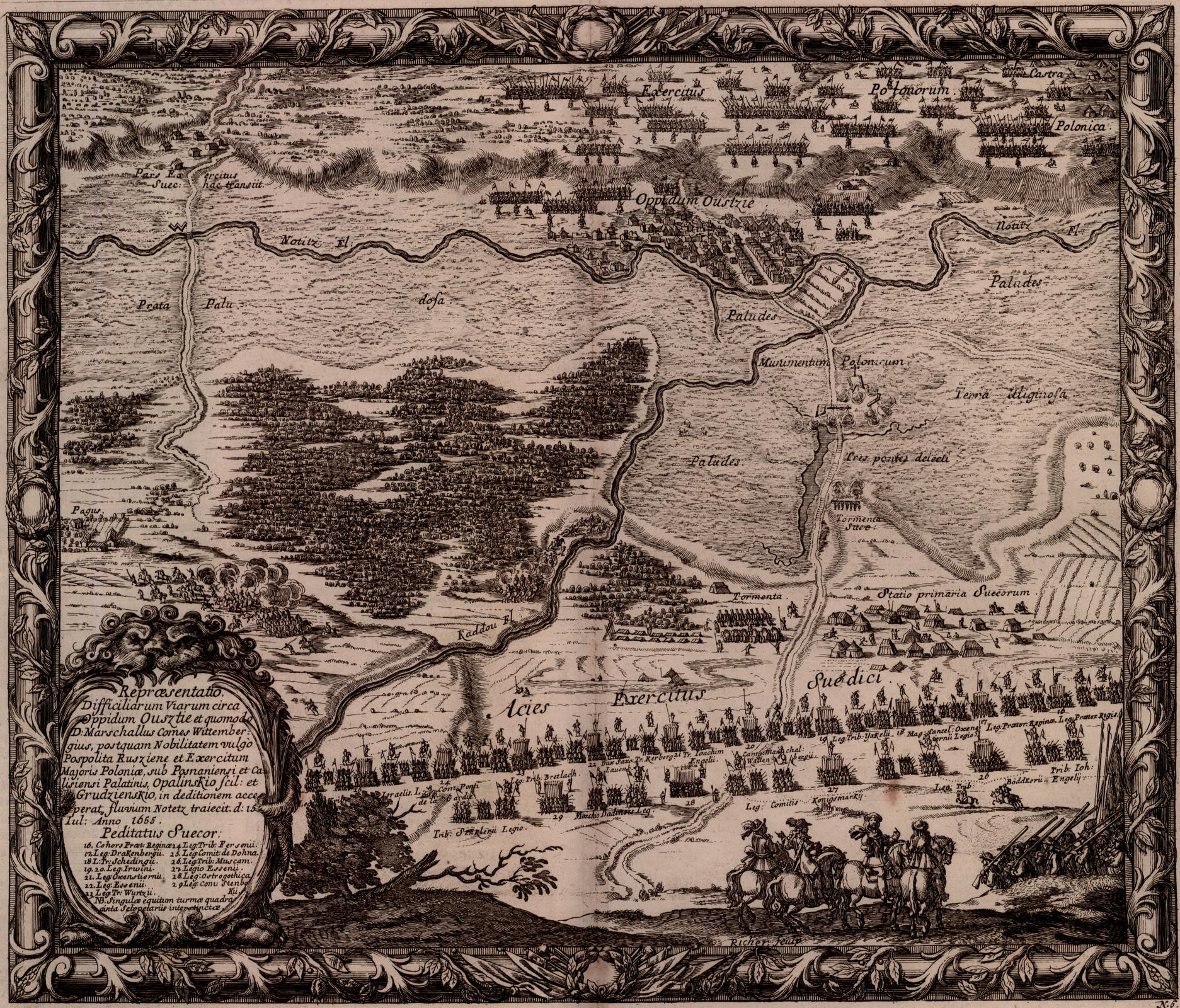 Samuel von Pufendorf, Oczynach Karola Gustawa, króla Szwecji, komentarzy ksiąg siedem, Norymberga 1696 Bitwa pod Ujściem -Szwedzi przystąpili do forsowania przeprawy. Naprzeciw polskich szańców ściągnęli przeważającą artylerię. Pięć godzin, aż do wieczora, trwała kanonada. Tymczasem feldmarszałek Arvid Wittenberg, zauważywszy trudności zdobycia głównej przeprawy, pchnął pod wieczór oddział rajtarów boczną drogą na Dziembowo. Wiadomość osforsowaniu przeprawy pod Dziembowem wywołała panikęwobozie polskim iwojewodowie - zamiast wykorzystać odosobnienie przeprawionych pod Dziembowem oddziałów izadać im klęskę, broniąc jednocześnie przeprawy pod Ujściem - wszczęli oświcie rokowania iwpołudnie 25 VII 1655 rokuhaniebnie kapitulowali poddając swe województwa Szwedom. Źródło: Erik Dahlbergh, Samuel von Pufendorf, Oczynach Karola Gustawa, króla Szwecji, komentarzy ksiąg siedem, Norymberga 1696, 1655, domena publiczna.