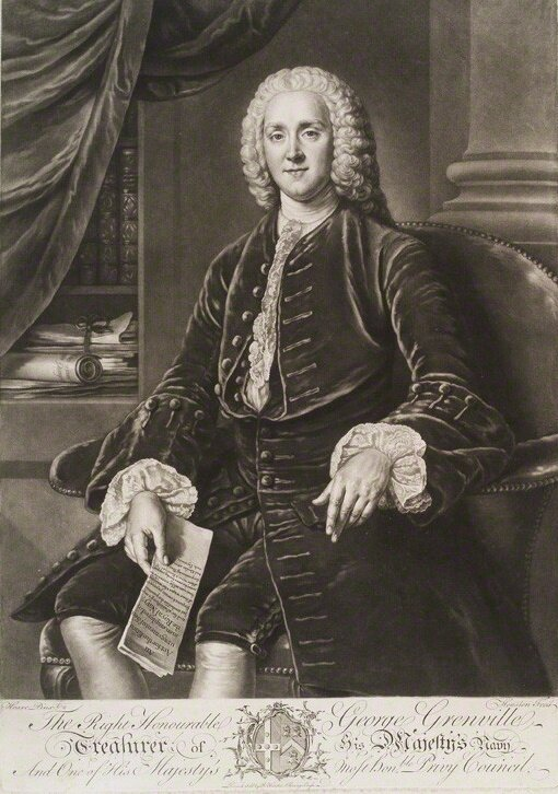 """George Grenville George Grenville, premier brytyjski wlatach 1763-1765. Za jego rządów wprowadzono """"ustawę cukrową"""". Grafika wg obrazu Williama Hoare zok. poł. XVIII w. Źródło: William Hoare, Richard Houston, George Grenville, ok. 1750-1775, National Portrait Gallery."""