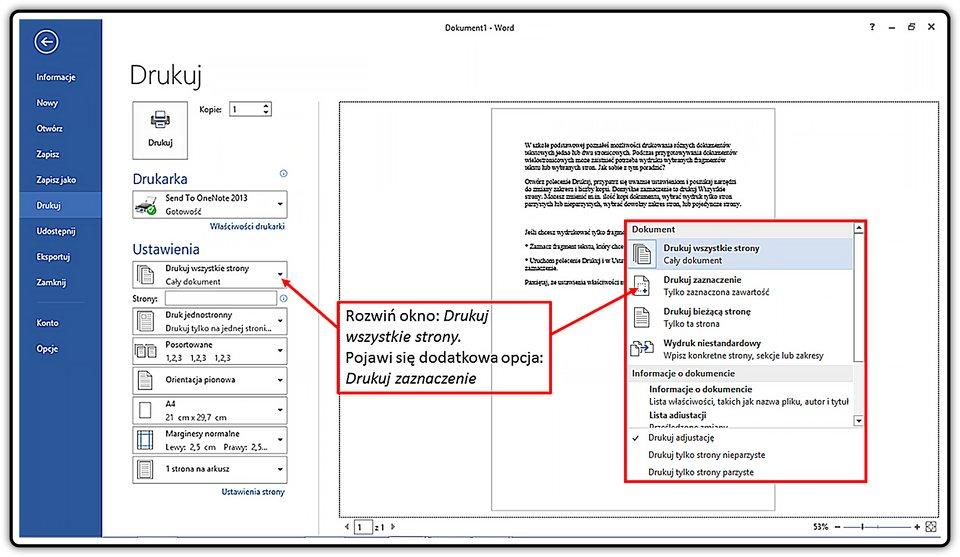 Slajd 2 galerii: Drukowanie fragmentu dokumentu wprogramie MS Word