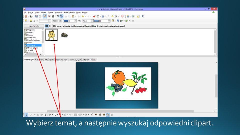 Slajd 2 galerii zrzutów slajdów: Wstawianie clipartu na slajd opustym układzie wprogramie LibreOffice Impress
